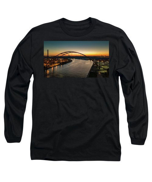 Long Sleeve T-Shirt featuring the photograph Hoan Bridge At Dusk by Randy Scherkenbach