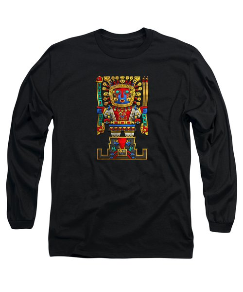 Incan Gods - The Great Creator Viracocha On Black Canvas Long Sleeve T-Shirt