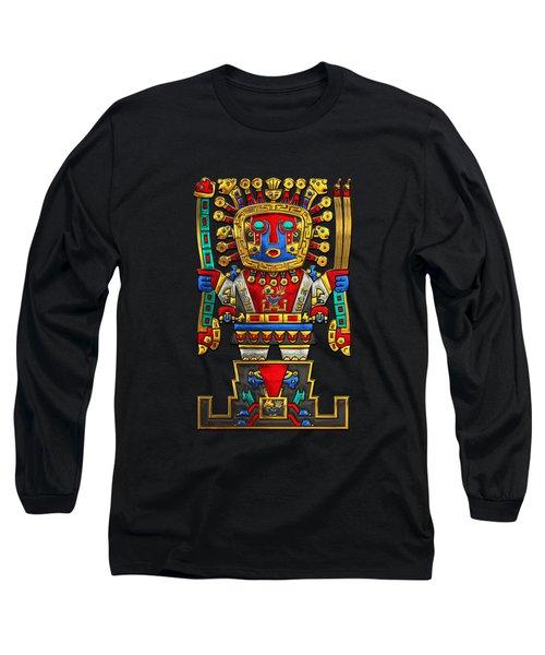 Incan Gods - The Great Creator Viracocha On Black Canvas Long Sleeve T-Shirt