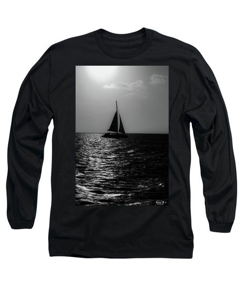 Sailing Into The Sunset Black And White Long Sleeve T-Shirt