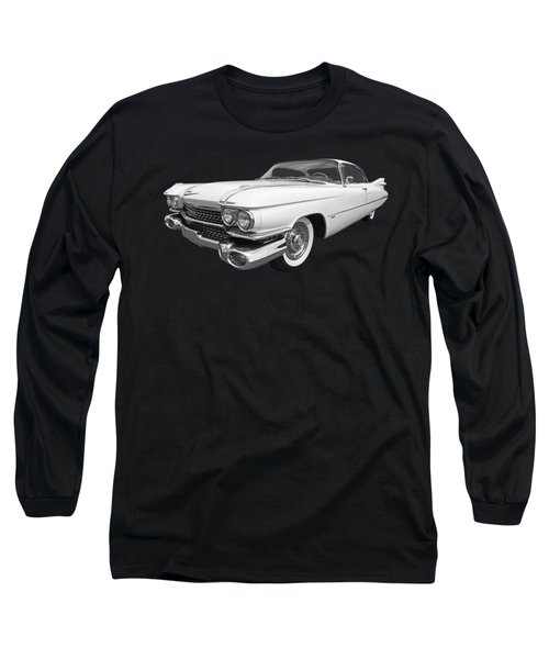 1959 Cadillac In Black And White Long Sleeve T-Shirt