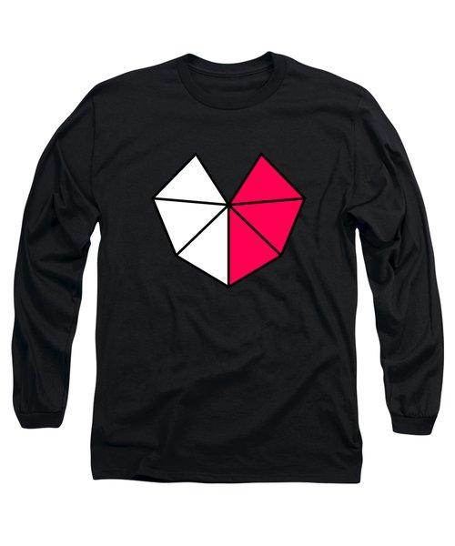 Happy Valentine Geometric Heart Design Long Sleeve T-Shirt