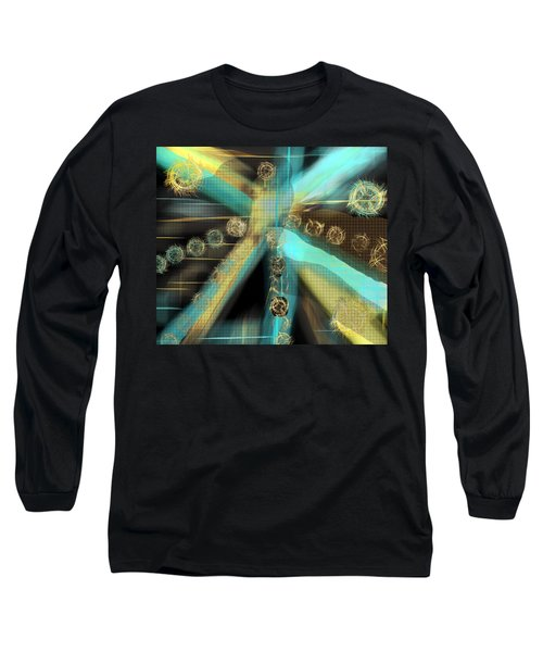 A Light Beams In Gold Brown And Blue Long Sleeve T-Shirt