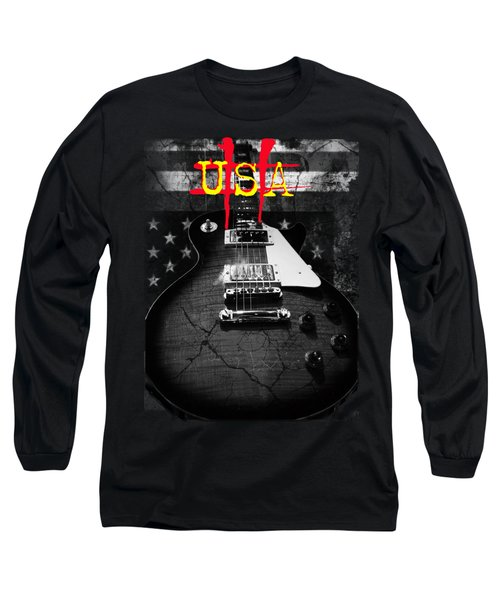 Long Sleeve T-Shirt featuring the digital art Abstract Relic Guitar Usa Flag by Guitar Wacky