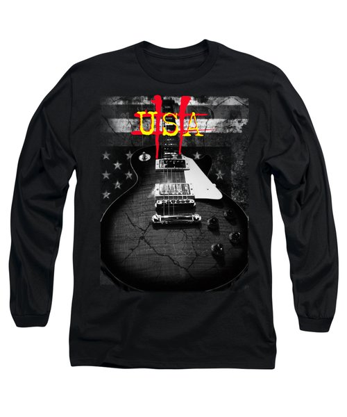 Abstract Relic Guitar Usa Flag Long Sleeve T-Shirt