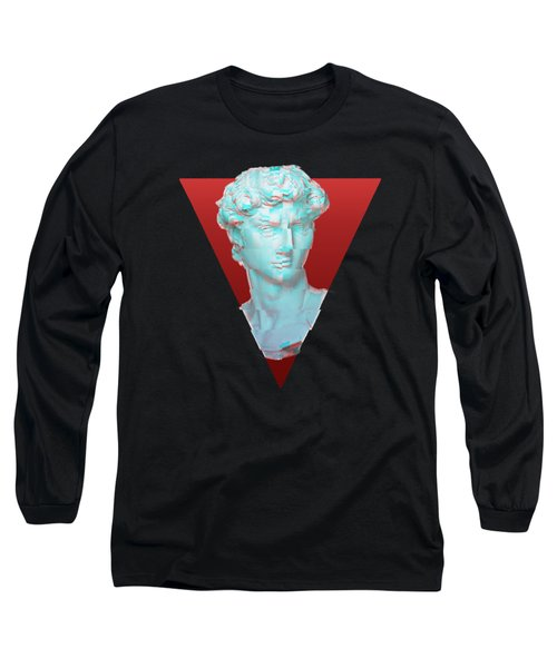 Aesthetic Greek Bust Gift Vaporwave Glitch Effect Statue Long Sleeve T-Shirt