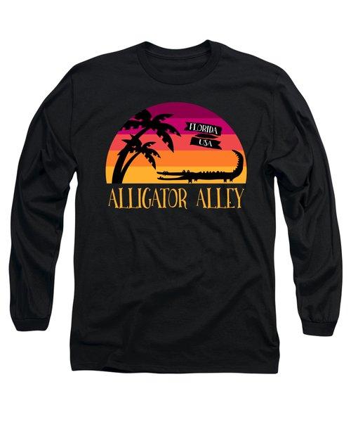 Alligator Alley Retro Sunset Long Sleeve T-Shirt