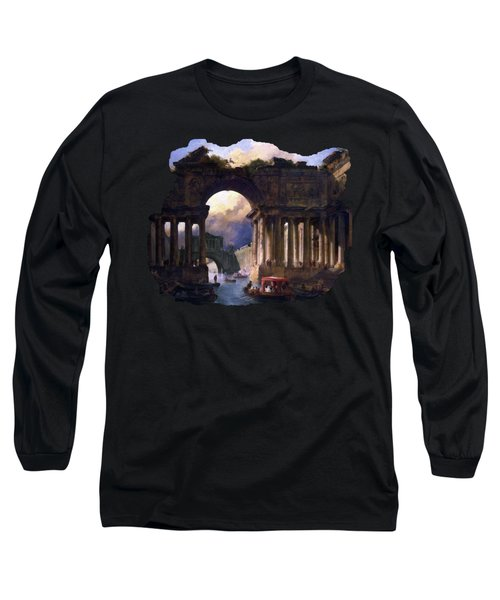 Architectural Landscape With A Canal By Hubert Robert Long Sleeve T-Shirt