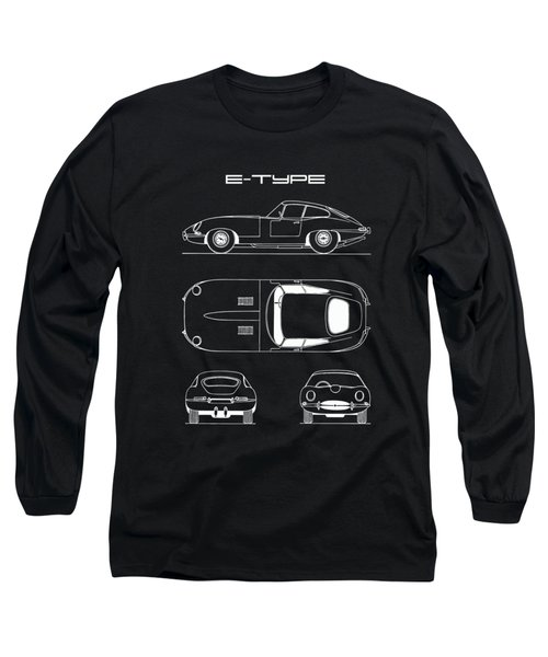 Jaguar E Type Blueprint - Black Long Sleeve T-Shirt