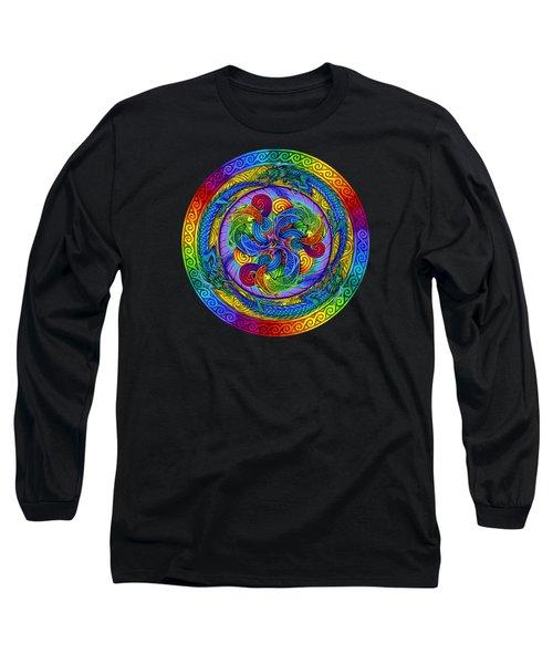 Psychedelic Dragons Rainbow Mandala Long Sleeve T-Shirt