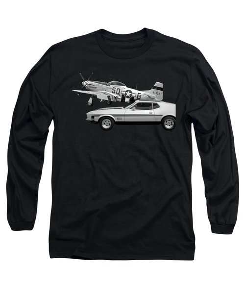 Mach 1 Mustang With P51 In Black And White Long Sleeve T-Shirt