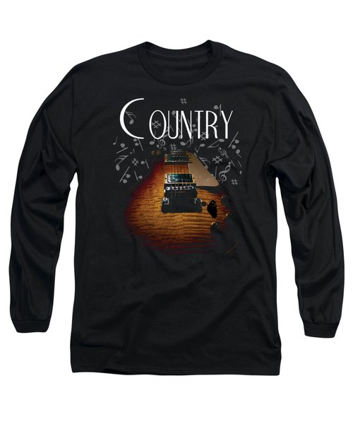 Long Sleeve T-Shirt featuring the digital art Color Country Music Guitar Notes by Guitar Wacky