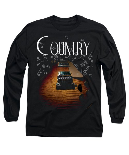 Color Country Music Guitar Notes Long Sleeve T-Shirt