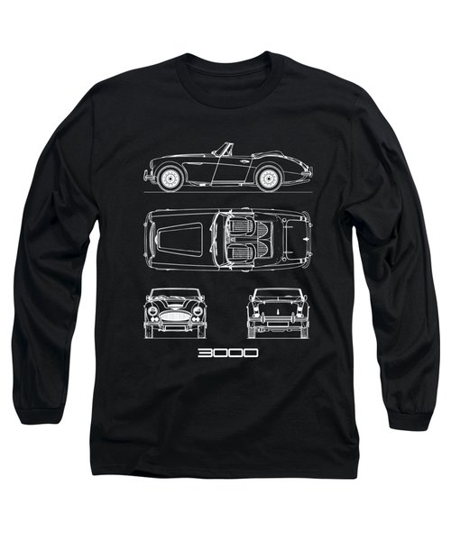 Austin-healey 3000 Blueprint Black Long Sleeve T-Shirt