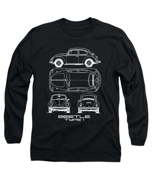 The Classic Beetle Blueprint Black Long Sleeve T-Shirt