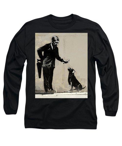Banksy Paris Man With Bone And Dog Long Sleeve T-Shirt