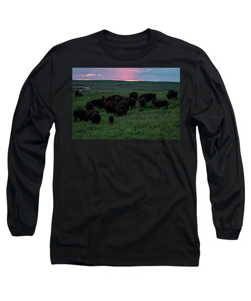 Bison At Sunset Long Sleeve T-Shirt