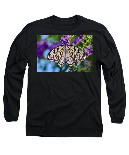 Black And White Paper Kite Butterfly Long Sleeve T-Shirt