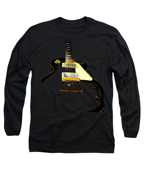 Long Sleeve T-Shirt featuring the photograph Black Guitar With Gold Accents by Guitar Wacky