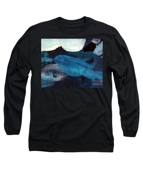 Long Sleeve T-Shirt featuring the painting Blue Fish by Maria Langgle