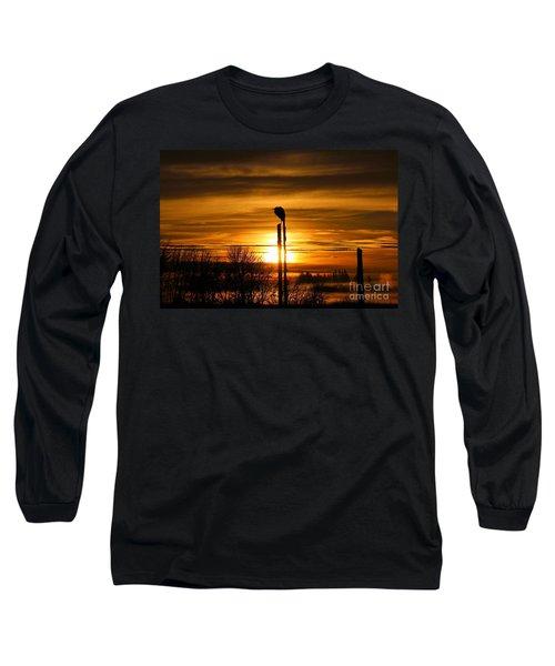 Blue Heron Sunrise Long Sleeve T-Shirt