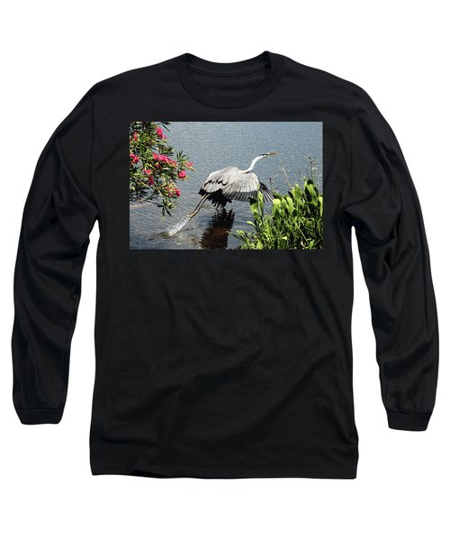 Blue Heron Take Off Long Sleeve T-Shirt