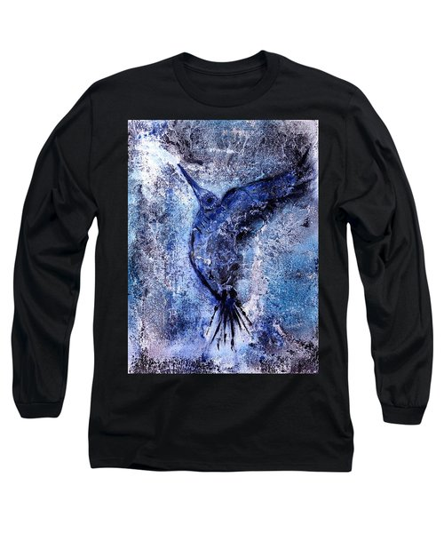 Long Sleeve T-Shirt featuring the painting Blue Hummingbird by 'REA' Gallery