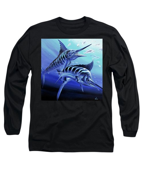 Long Sleeve T-Shirt featuring the painting Blue Marlins by William Love