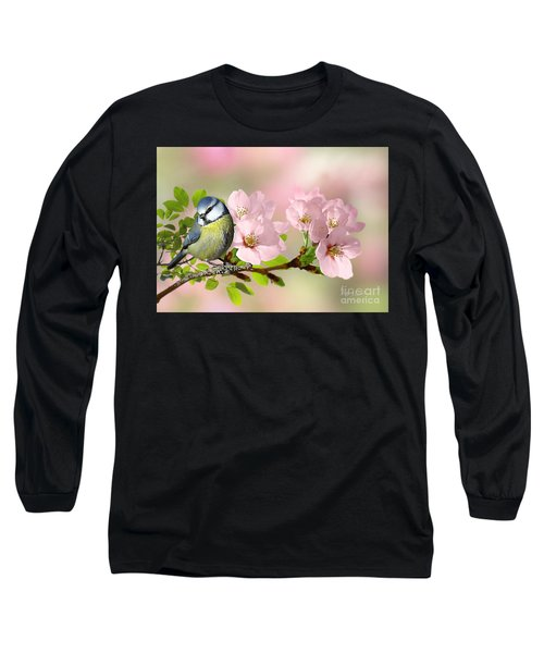 Blue Tit On Apple Blossom Long Sleeve T-Shirt