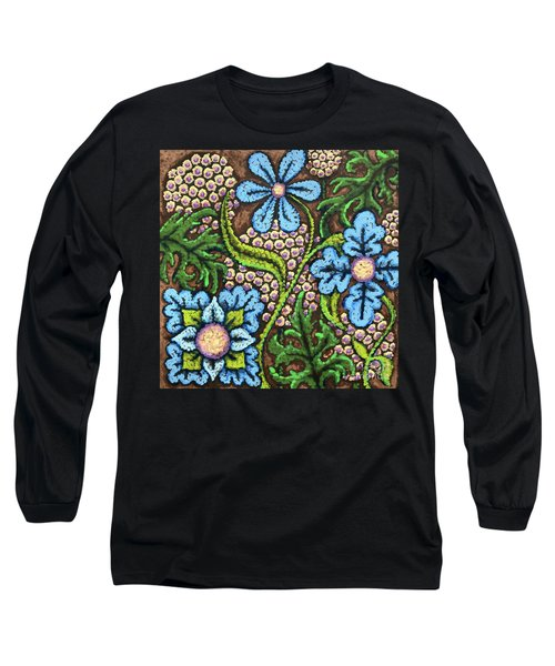 Brown And Blue Floral 2 Long Sleeve T-Shirt