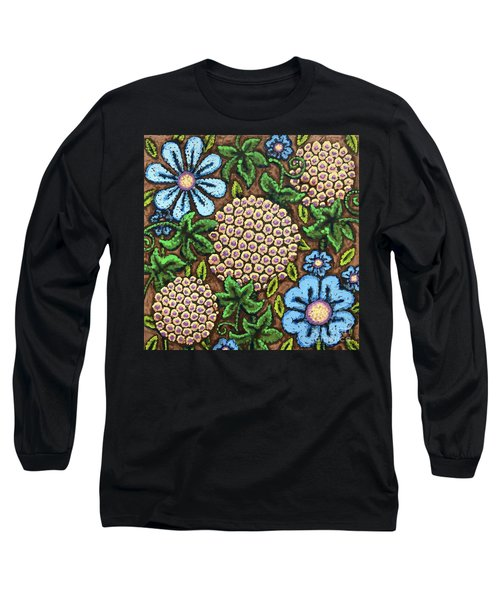 Brown And Blue Floral 3 Long Sleeve T-Shirt