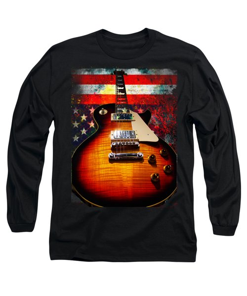 Long Sleeve T-Shirt featuring the digital art Burst Guitar American Flag Background by Guitar Wacky