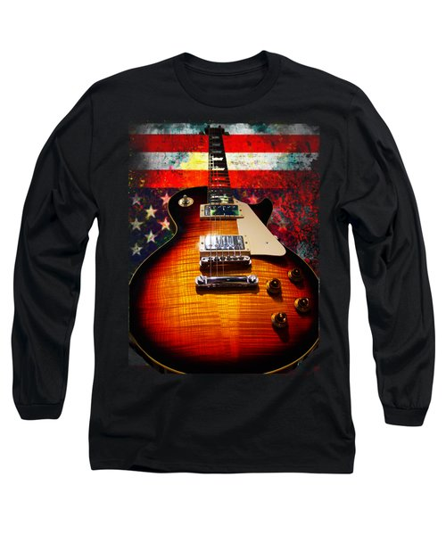 Burst Guitar American Flag Background Long Sleeve T-Shirt
