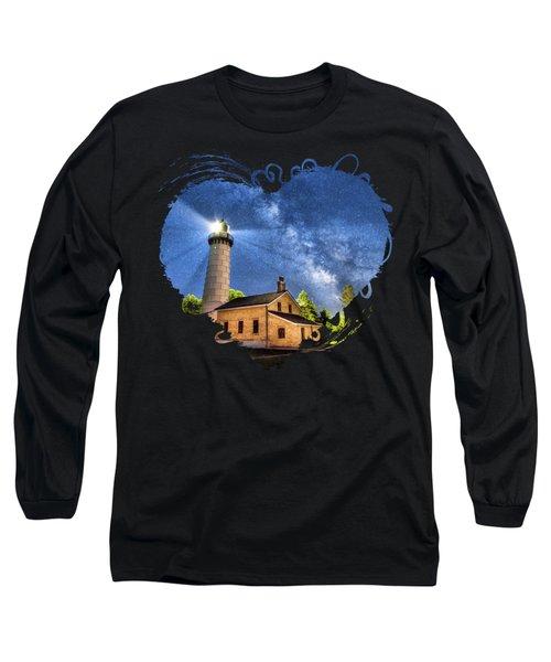 Cana Island Lighthouse Milky Way In Door County Wisconsin Long Sleeve T-Shirt