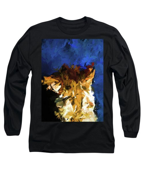 Cat And The Cobalt Blue Wall Long Sleeve T-Shirt