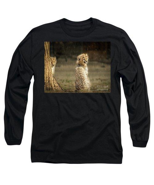 Cheetah Cubs And Rain 0168 Long Sleeve T-Shirt