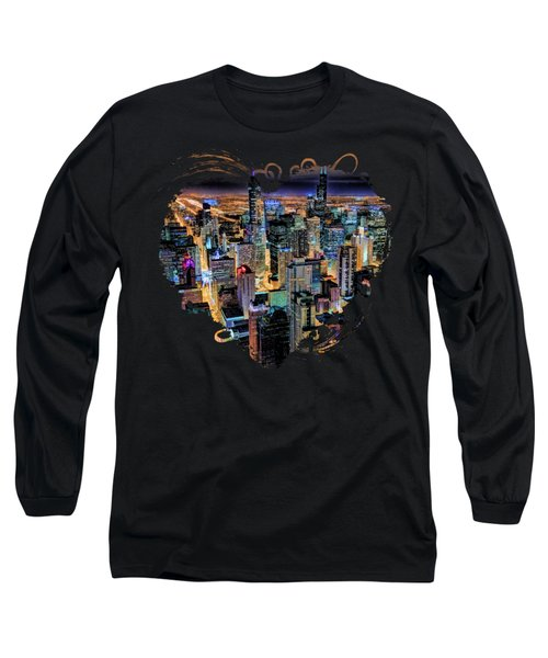 Chicago Skyline At Night Long Sleeve T-Shirt