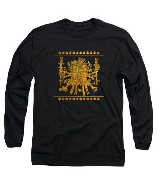 Codex Borgia - Aztec Gods - Gold Quetzalcoatl With Mictlantecuhtli On Black And White Leather Long Sleeve T-Shirt
