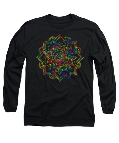 Colourful Rainbow Mandala Lavender Long Sleeve T-Shirt
