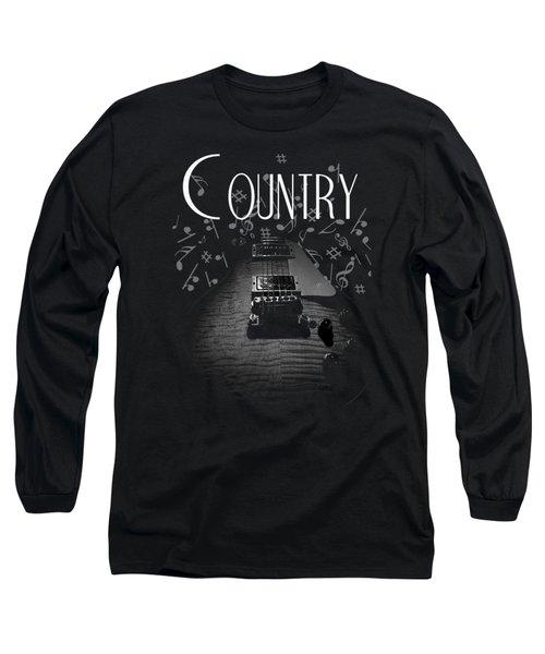 Long Sleeve T-Shirt featuring the digital art Country Music Guitar Music by Guitar Wacky