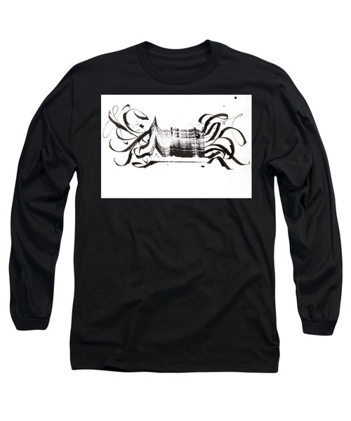 Disruption. White. Calligraphic Abstract Long Sleeve T-Shirt