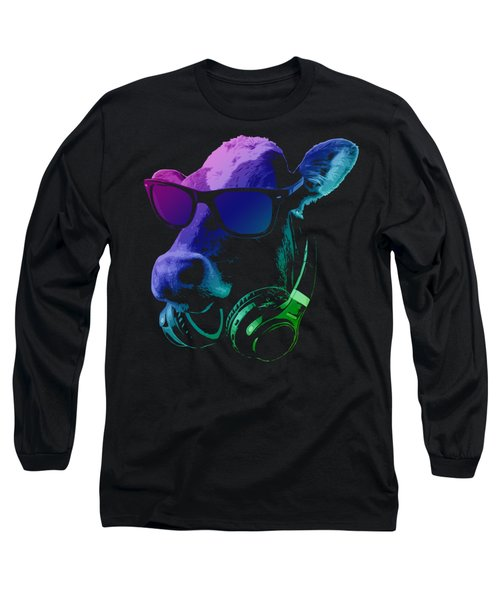 Dj Cow With Sunglasses And Headphones Long Sleeve T-Shirt