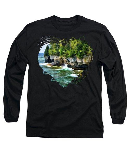 Door County Cave Point Cliffs Long Sleeve T-Shirt