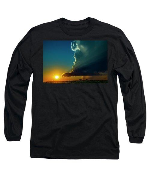 Dying Nebraska Thunderstorms At Sunset 068 Long Sleeve T-Shirt