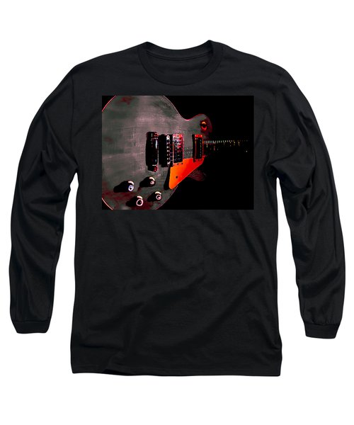 Long Sleeve T-Shirt featuring the digital art Ebony Relic Guitar Hover Series by Guitar Wacky