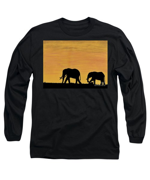 Elephants - At - Sunset Long Sleeve T-Shirt