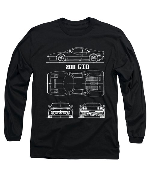 Ferrari 288 Gto Blueprint Long Sleeve T-Shirt