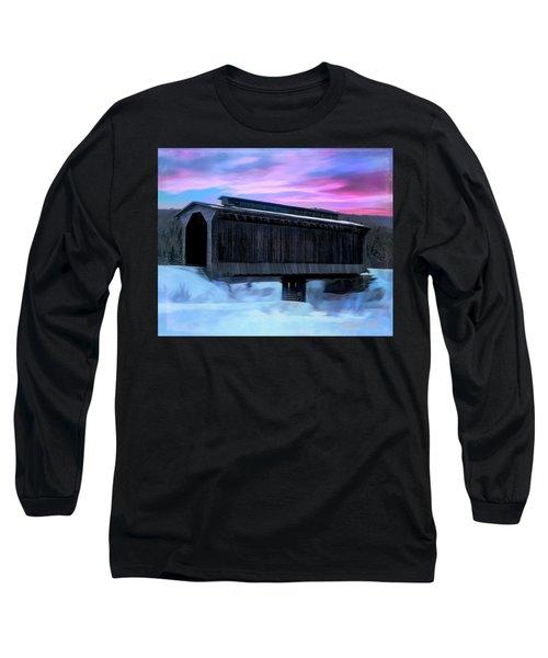 Fisher Raiilroad Covered Bridge Wolcott Vermont. Long Sleeve T-Shirt