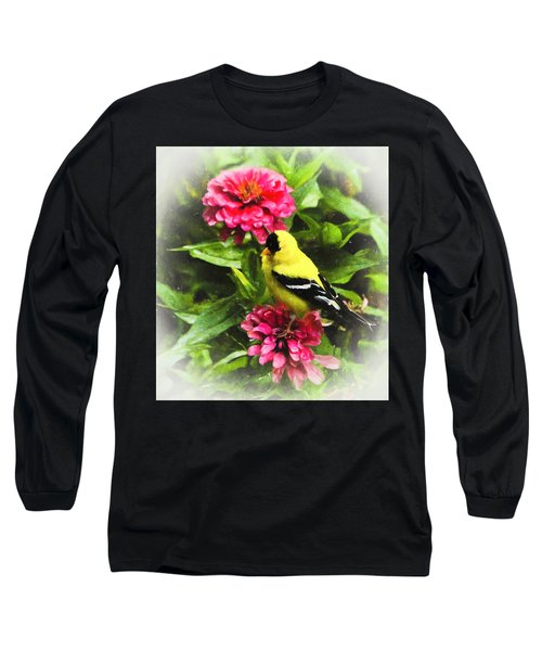 Goldfinches Love Zinnias Long Sleeve T-Shirt