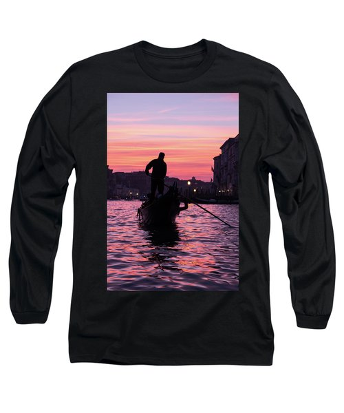 Gondolier At Sunset Long Sleeve T-Shirt